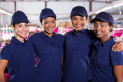 Textile factory co-workers Stock Photo