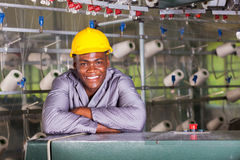 Textile factory worker. Smiling african american textile factory worker portrait Royalty Free Stock Photos