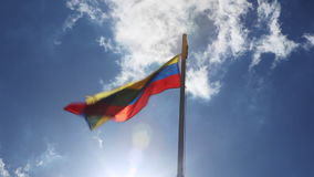 Textile flag of Colombia on a flagpole stock video footage