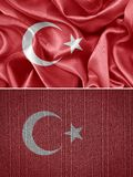 Turkey flag. Textile flag of Turkey. set royalty free stock images