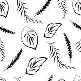 Monochrome foliage seamless printable pattern. Textile flower art silhouette. Spring, summer foliage backdrop. Monochrome floral seamless printable pattern Stock Photography