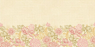 Textile flowers horizontal seamless pattern background border Royalty Free Stock Image