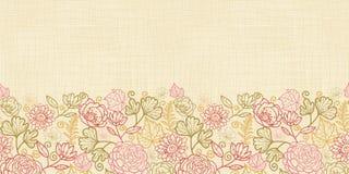 Textile flowers horizontal seamless pattern background border. Vector textile flowers elegant horizontal seamless pattern border on fabric textured background Royalty Free Stock Image