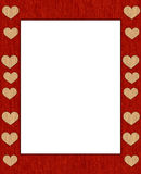 Textile frame. Textile with hearts frame for photo or text Stock Photo