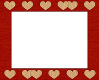 Textile frame with hearts Stock Photography