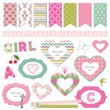 Textile frames. Scrapbook design elements. Girly. Royalty Free Stock Photos