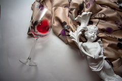 Textile with glass of wine Royalty Free Stock Image
