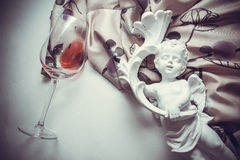 Textile with glass of wine Stock Photography