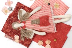 Textile handmade doll and sewing accessory Stock Images