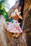 Textile handmade sheep in dress with flowers Stock Images
