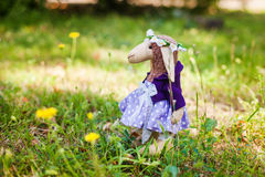 Textile handmade sheep in dress Royalty Free Stock Photo