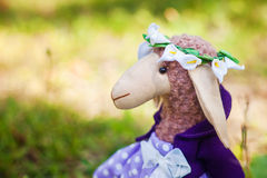 Textile handmade sheep in dress Royalty Free Stock Photos