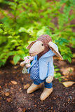 Textile handmade sheep in jacket Stock Photography