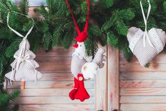 Textile handmade toys. For Christmas fir tree or wall decorations royalty free stock image