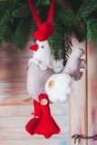 Textile handmade toys. For Christmas fir tree or wall decorations royalty free stock photo