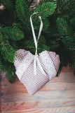 Textile handmade toys. For Christmas fir tree or wall decorations stock photo