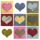Textile heart collage Stock Images