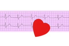 Textile heart over electrocardiogram graph Stock Photography