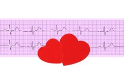 Textile heart over electrocardiogram graph Royalty Free Stock Photo