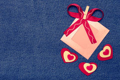 Textile heart, ribbon and pink photo frame. Romantic love theme Stock Images