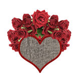 Textile heart with roses Stock Images