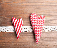 Textile hearts Royalty Free Stock Photography