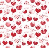 Textile hearts with bows on a white backgrounds seamless Royalty Free Stock Images