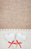 Textile hearts and linen cloth on the burlap Stock Photo