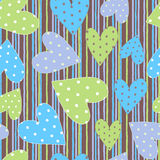 Textile hearts seamless pattern Royalty Free Stock Photo