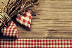 Textile hearts on twig - Harmony background Royalty Free Stock Images