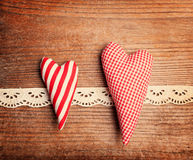 Textile hearts Royalty Free Stock Image