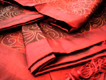 Red tablecloth closeup Royalty Free Stock Photos