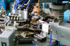 Textile: Industrial Embroidery Machine. Machinery and equipment in a spinning production company. Machinery and equipment in a spinning production company Stock Photography
