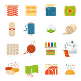 Textile Industry Icons. Textile industry flat icons set with clothing manufacture symbols isolated vector illustration Stock Photos