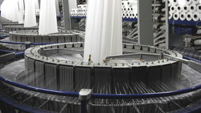 Textile industry - spinning machine in a factory stock footage