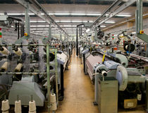 Textile industry - Weaving and warping Stock Images