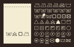 Textile label and washing symbols Royalty Free Stock Image