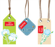 Textile labels. 3 textile labels - cotton, jeans and flax Stock Photography