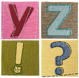 Textile letters collection. On white Stock Photo