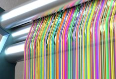 Textile machine with rainbow colors threads. 3d illustration royalty free illustration