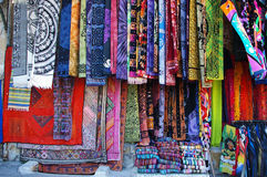 Textile Market. In Monastiraki agora in Athens royalty free stock photo