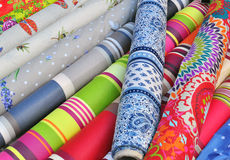 Textile market stall Stock Images
