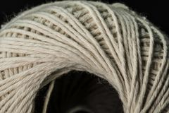 White cotton thread ball macro close up Royalty Free Stock Images