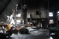 Textile mill fire scene Stock Photo