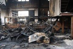 Textile mill fire scene Stock Photo