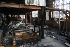Textile mill fire scene Stock Photography