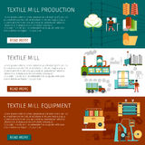 Textile Mill Flat Horizontal Banners Set Royalty Free Stock Photo