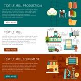 Textile Mill Flat Horizontal Banners Set Royalty Free Stock Photo
