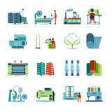 Textile Mill Flat Icons Set Royalty Free Stock Photography
