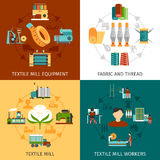 Textile Mill 4 Flat Icons Square Royalty Free Stock Photography